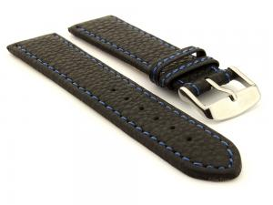 Leather Watch Band Kana Black / Blue 22mm