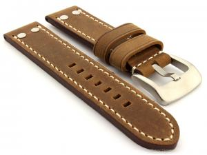 Leather Watch Band Marina with Rivets fits Panerai Matte Brown 20mm