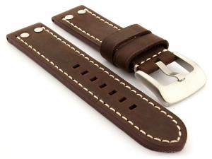 Leather Watch Band Marina with Rivets fits Panerai Matte Dark Brown 24mm