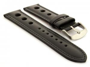 Racing Style Leather Watch Band Monte Carlo Black 20mm