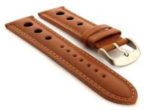 Racing Style Leather Watch Band Monte Carlo Brown 22mm