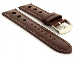 Racing Style Leather Watch Band Monte Carlo Dark Brown 22mm