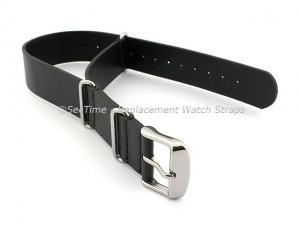 Leather NATO Watch Strap Band (3 rings) Black 20mm