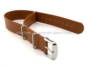 Leather NATO Watch Strap Band (3 rings) Brown(Tan) 22mm