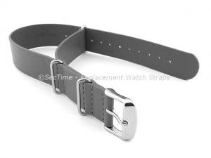 Leather NATO Watch Strap Band (3 rings) Grey 22mm
