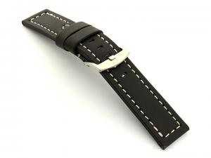 Leather Watch Band Panor Black 26mm