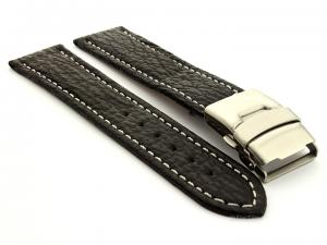 Genuine Shark Skin Watch Band with Deployment Clasp Black 22mm