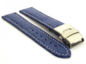 Genuine Shark Skin Watch Band with Deployment Clasp Blue 18mm