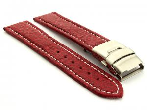 Genuine Shark Skin Watch Band with Deployment Clasp Red 24mm