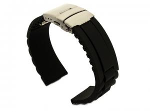 Silicone Watch Band GM with Deployment Clasp Waterproof Black 20mm