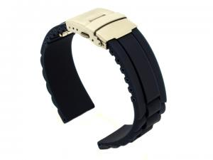 Silicone Watch Band GM with Deployment Clasp Waterproof Navy Blue 18mm