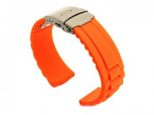 Silicone Watch Band GM with Deployment Clasp Waterproof Orange 22mm