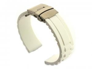 Silicone Watch Band with Deployment Clasp White GM 01