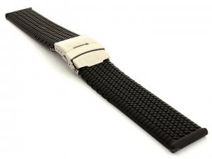 Silicone Watch Band with Deployment Clasp Waterproof Summer Tyre Black 20mm