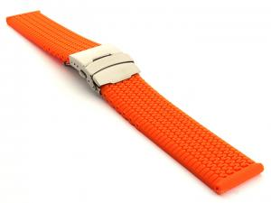 Silicone Watch Band with Deployment Clasp Waterproof Summer Tyre Orange 20mm