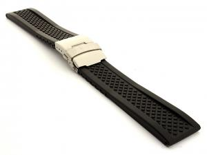 Silicone Watch Band with Deployment Clasp Winter Tyre Waterproof Black 22mm