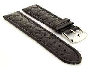 Leather Watch Strap African Black 24mm