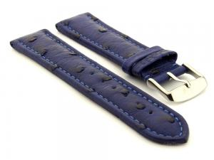 Genuine Ostrich Leather Watch Strap Amsterdam Blue 22mm
