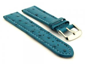 Genuine Ostrich Leather Watch Strap Amsterdam Turquoise 18mm