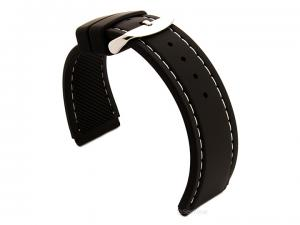 Notched Corners Silicone Watch Strap Black with White Stitching Astro 02