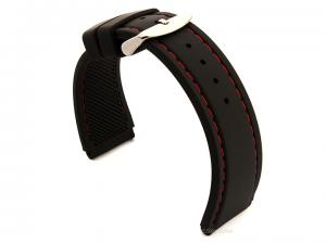 Notched Corners Silicone Watch Strap Waterproof Astro Black / Red 22mm