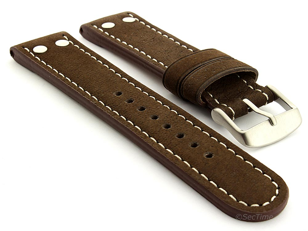 Extra Short Genuine Leather Watch Strap Band in Aviator Style Dark Brown 20mm