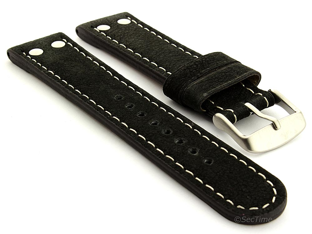 Extra Short Genuine Leather Watch Strap Band in Aviator Style Black 22mm