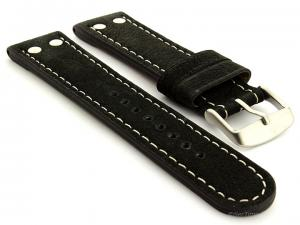 Riveted Suede Leather Watch Strap in Aviator Style Black 20mm