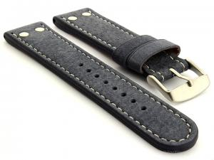 Riveted Suede Leather Watch Strap in Aviator Style Blue 24mm