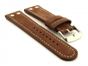 Riveted Suede Leather Watch Strap in Aviator Style Cocoa 02