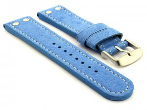 Riveted Suede Leather Watch Strap in Aviator Style Light Blue 24mm