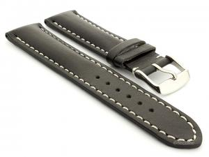 Leather Watch Strap fits Breitling Black / White 18mm