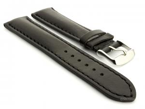 Leather Watch Strap fits Breitling Black / Black 18mm