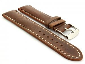Leather Watch Strap fits Breitling Brown / White 22mm