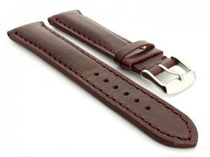 Leather Watch Strap fits Breitling Burgundy / Burgundy 20mm
