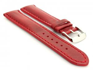 Leather Watch Strap fits Breitling Red / Red 22mm