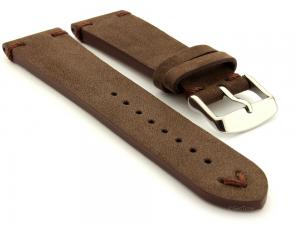 Suede Leather Retro Style Watch Strap Blacksmith Plus Dark Brown 20mm
