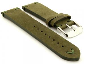 Suede Leather Retro Style Watch Strap Blacksmith Plus Olive Green 20mm