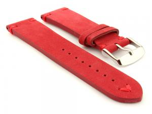 Suede Leather Retro Style Watch Strap Blacksmith Plus Red 22mm