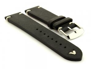 Genuine Leather Vintage Style Watch Strap Blacksmith Black 22mm