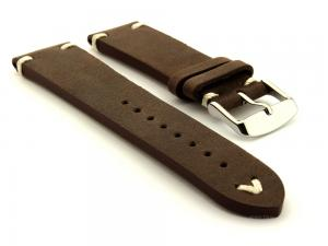 Genuine Leather Vintage Style Watch Strap Blacksmith Dark Brown 20mm