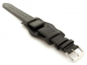 Bund Watch Strap, Leather, Wrist Pad Black 20mm