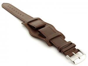 Bund Watch Strap, Leather, Wrist Pad Dark Brown 20mm