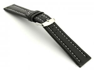 CARBON FIBRE EFFECT LEATHER WATCH STRAP WATERPROOF Black/White 22mm