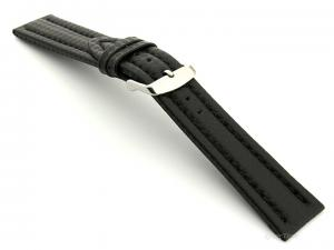 CARBON FIBRE EFFECT LEATHER WATCH STRAP WATERPROOF Black/Black 20mm