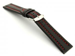 CARBON FIBRE EFFECT LEATHER WATCH STRAP WATERPROOF Black/Red 22mm