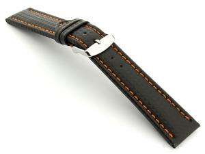 CARBON FIBRE EFFECT LEATHER WATCH STRAP WATERPROOF Black/Orange 22mm