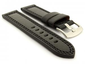 Panerai Style Waterpoof Leather Watch Strap CONSTANTINE Black 24mm