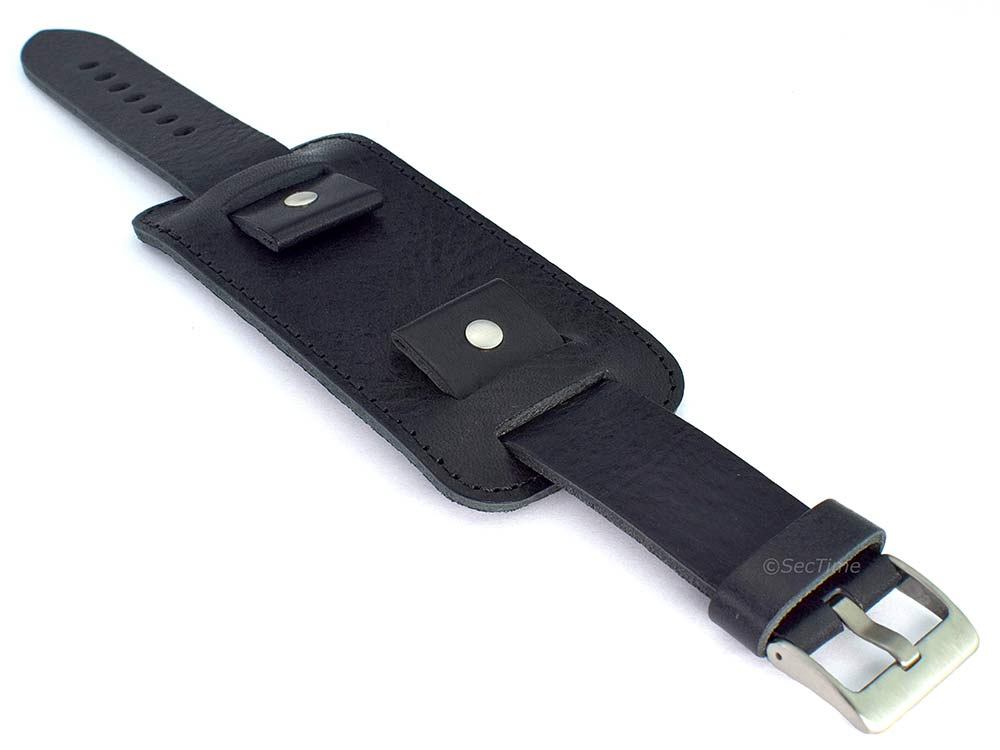 Genuine Leather Watch Strap Band with Cuff Crimea Black 18mm