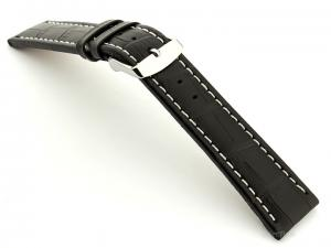 Extra Long Watch Strap Croco Black / White 28mm